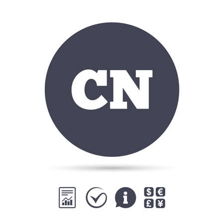 Chinese taal teken pictogram. CN China vertaalsymbool. Rapporteer document, informatie en vink pictogrammen aan. Wisselkantoor. Vector Stock Illustratie