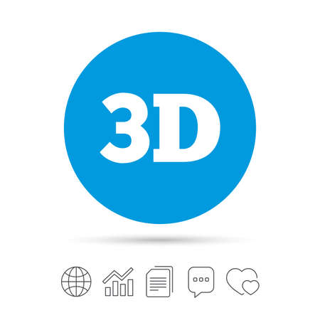 flat screen tv: 3D sign icon. 3D New technology symbol. Copy files, chat speech bubble and chart web icons. Vector Illustration