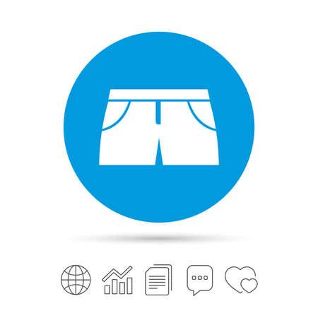女性のスポーツ パンツは記号アイコンです。衣料品のシンボル マークです。ファイルのコピー、音声バブルとグラフ web アイコンをチャットします