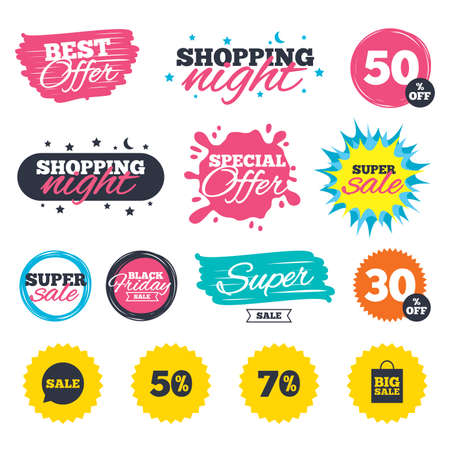 Sale shopping banners. Special offer splash. Sale speech bubble icon. 50% and 70% percent discount symbols. Big sale shopping bag sign. Web badges and stickers. Best offer. Vector