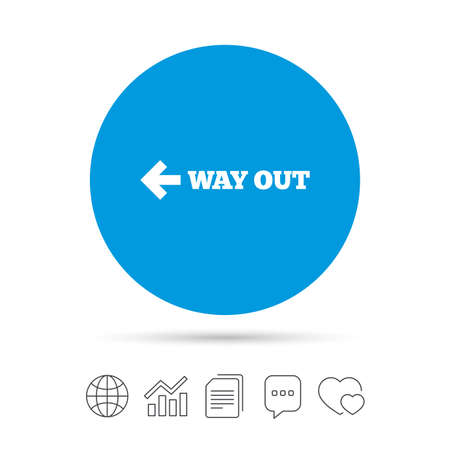 Way out left sign icon. Arrow symbol. Copy files, chat speech bubble and chart web icons. Vector