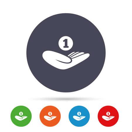 寄付の手印アイコン。手は、コインを保持します。慈善団体や基金のシンボル。人間の手のひらを支援します。フラット アイコンと丸いカラフルな