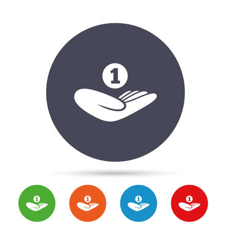 Donation hand sign icon. Hand holds coin. Charity or endowment symbol. Human helping hand palm. Round colourful buttons with flat icons. Vector