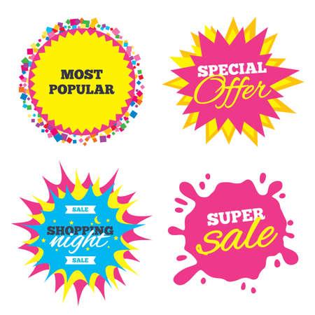 Sale splash banner, special offer star. Most popular sign icon. Bestseller symbol. Shopping night star label. Vector Illustration