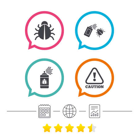 Bug disinfection icons. Caution attention symbol. Insect fumigation spray sign. Calendar, internet globe and report linear icons. Star vote ranking. Vector Illustration