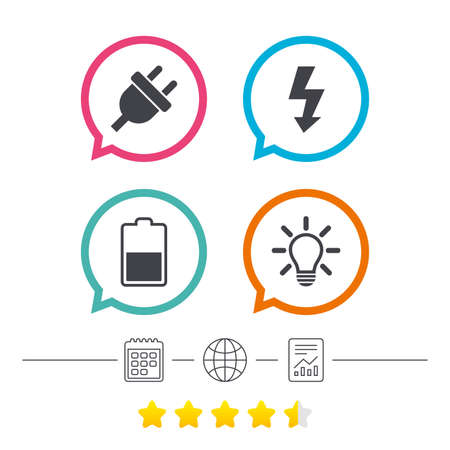 energy ranking: Electric plug icon. Light lamp and battery half symbols. Low electricity and idea signs. Calendar, internet globe and report linear icons. Star vote ranking. Vector