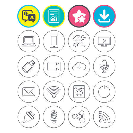 Report, download and star signs. Devices and technologies icons. Notebook, smartphone and wi-fi symbols. Usb flash, video camera, microphone thin outline signs. Vector Illustration