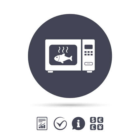 Microwave oven sign icon. Grilled fish. Kitchen electric stove symbol. Report document, information and check tick icons. Currency exchange. Vector