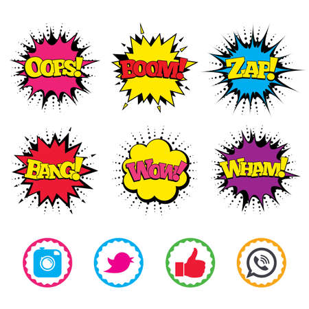 Comic Wow, Oops, Boom and Wham sound effects. Hipster photo camera icon. Like and Call speech bubble sign. Bird symbol. Social media icons. Zap speech bubbles in pop art. Vector