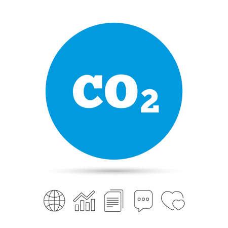 Cone de sinal de fórmula de dióxido de carbono CO2. Símbolo de química. Copie arquivos, bate-papo bolha do discurso e ícones da web de gráfico. Vetor Foto de archivo - 75583271