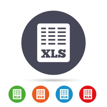 Excel file document icon. Download xls button. XLS file symbol. Round colourful buttons with flat icons. Vector