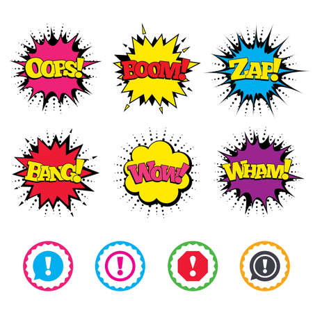 Comic Wow, Oops, Boom and Wham sound effects. Attention icons. Exclamation speech bubble symbols. Caution signs. Zap speech bubbles in pop art. Vector Illustration