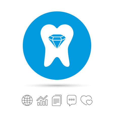 prestige: Tooth crystal icon. Tooth jewellery sign. Dental prestige symbol. Copy files, chat speech bubble and chart web icons. Vector