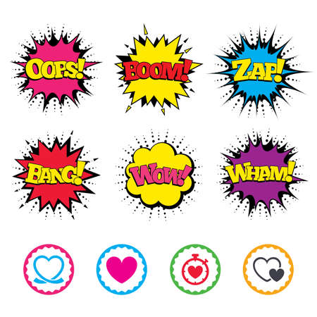 palpitation: Comic Wow, Oops, Boom and Wham sound effects. Heart ribbon icon. Timer stopwatch symbol. Love and Heartbeat palpitation signs. Zap speech bubbles in pop art. Vector