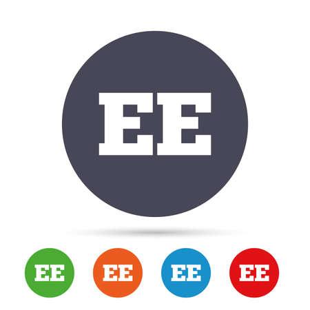 Estse taal teken pictogram. EE-vertaalsymbool. Ronde kleurrijke knoppen met plat pictogrammen. Vector Stock Illustratie