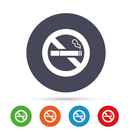 No Smoking sign icon. Quit smoking. Cigarette symbol. Round colourful buttons with flat icons. Vector