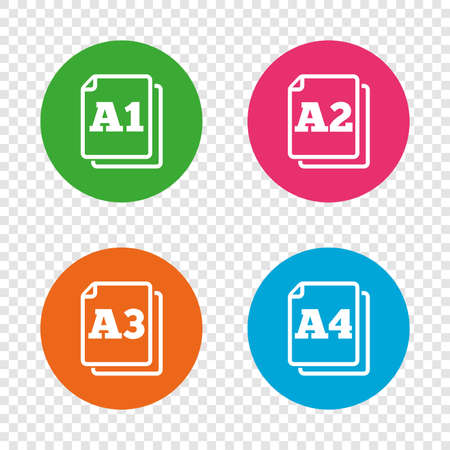 Paper size standard icons. Document symbols. A1, A2, A3 and A4 page signs. Round buttons on transparent background. Vector