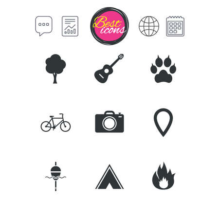 Chat speech bubble, report and calendar signs. Tourism, camping icons. Fishing, fire and bike signs. Guitar music, photo camera and paw with clutches. Classic simple flat web icons. Vector Illustration