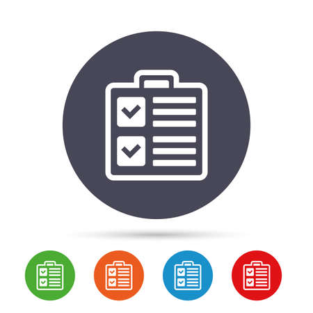 Checklist sign icon. Control list symbol. Survey poll or questionnaire form. Round colourful buttons with flat icons. Vector Çizim
