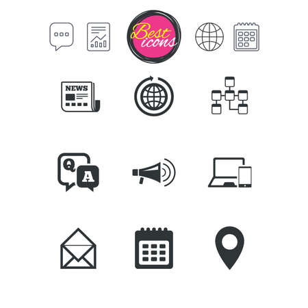 open notebook: Chat speech bubble, report and calendar signs. Communication icons. News, chat messages and calendar signs. E-mail, question and answer symbols. Classic simple flat web icons. Vector