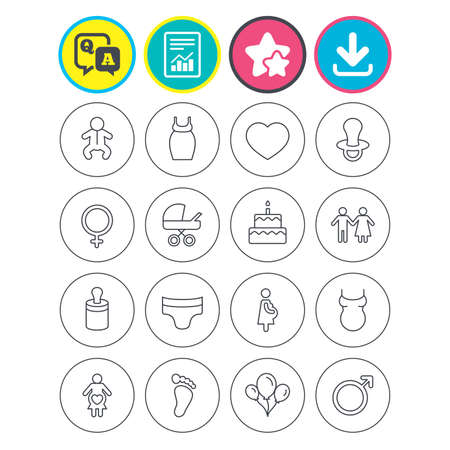 Report, download and star signs. Baby and Maternity icons. Toddler, diapers and child footprint symbols. Heart, birthday cake and pacifier thin outline signs. Pregnant woman, couple and air balloons