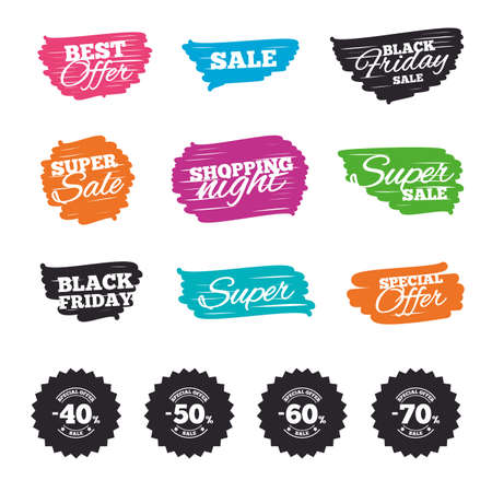 Ink brush sale banners and stripes. Sale discount icons. Special offer stamp price signs. 40, 50, 60 and 70 percent off reduction symbols. Special offer. Ink stroke. Vector
