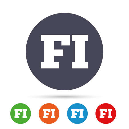 Finse taal teken pictogram. FI Finland vertaalsymbool. Ronde kleurrijke knoppen met plat pictogrammen. Vector