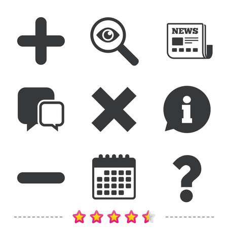 Plus- en minuspictogrammen. Verwijder en ondervraag FAQ-borden. Zoom symbool vergroten. Krant, informatie en kalenderpictogrammen. Onderzoek vergrootglas, chat-symbool. Vector