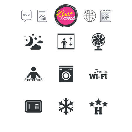 Chat speech bubble, report and calendar signs. Hotel, apartment service icons. Washing machine. Wifi, air conditioning and swimming pool symbols. Classic simple flat web icons. Vector