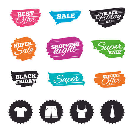 Ink brush sale banners and stripes. Clothes icons. T-shirt and bermuda shorts signs. Business tie symbol. Special offer. Ink stroke. Vector