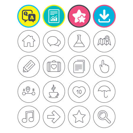 Report, download and star signs. Universal icons. House building, speech bubbles and first aid box. Copy documents, like counter and hot coffee drink. Map pointer, arrow and favorite star. Vector