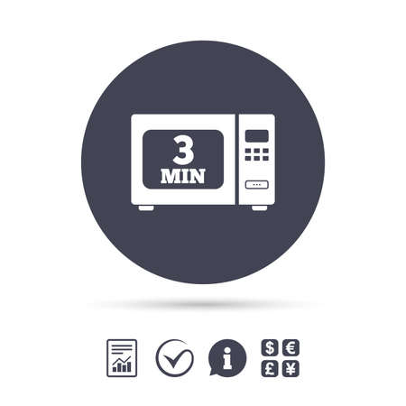 Cook in microwave oven sign icon. Heat 3 minutes. Kitchen electric stove symbol. Report document, information and check tick icons. Currency exchange. Vector