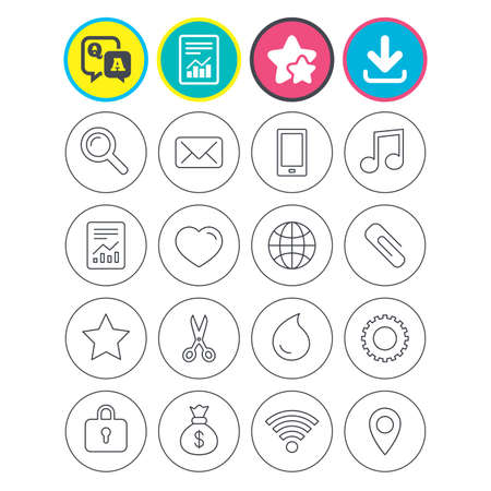 Report, download and star signs. Universal icons. Smartphone, mail and musical note. Heart, globe and share symbols. Paperclip, scissors and water drop. Question and answer or Q&A symbol. Flat buttons