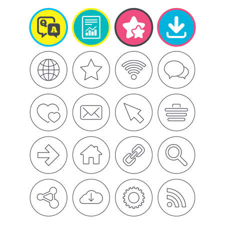 Report, download and star signs. Internet and Web icons. Wi-fi network, favorite star and internet globe. Hearts, shopping cart and speech bubbles. Share, rss and link symbols. Vector
