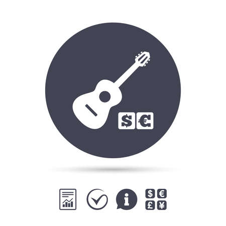 Acoustic guitar sign icon. Paid music symbol. Report document, information and check tick icons. Currency exchange. Vector