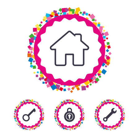 tool unlock: Web buttons with confetti pieces. Home key icon. Wrench service tool symbol. Locker sign. Main page web navigation. Bright stylish design. Vector
