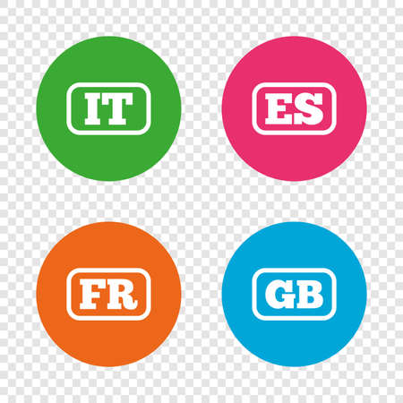 Language icons. IT, ES, FR and GB translation symbols. Italy, Spain, France and England languages. Round buttons on transparent background. Vector Illustration