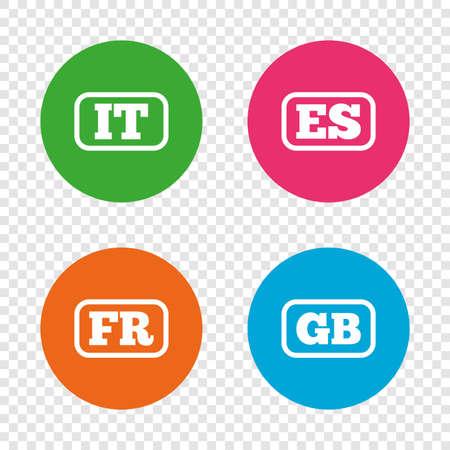 Taalpictogrammen. IT, ES, FR en GB-vertaalsymbolen. Talen van Italië, Spanje, Frankrijk en Engeland. Ronde knoppen op transparante achtergrond. Vector Stock Illustratie