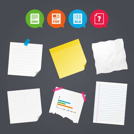Business paper banners with notes. File document and question icons. XLS, PDF and DOC file symbols. Download or save doc signs. Sticky colorful tape. Speech bubbles with icons. Vector