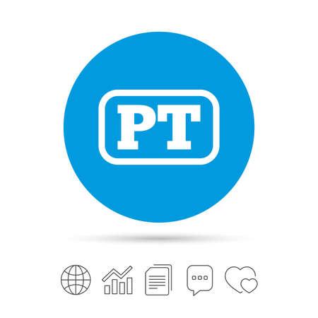 Portugese taal teken pictogram. PT Portugal-vertaalsymbool met frame. Kopieer bestanden, praat tekstballonnen en grafiek web iconen. Vector