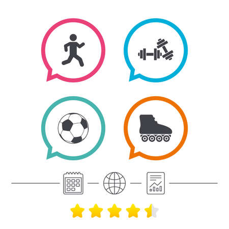 rollerblades: Football ball, Roller skates, Running icons. Fitness sport symbols. Gym workout equipment. Calendar, internet globe and report linear icons. Star vote ranking. Vector