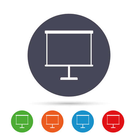 ppt: Presentation billboard sign icon. Clean board symbol. Round colourful buttons with flat icons. Vector Illustration