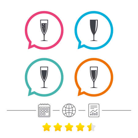Champagne wine glasses icons. Alcohol drinks sign symbols. Sparkling wine with bubbles. Calendar, internet globe and report linear icons. Star vote ranking. Vector