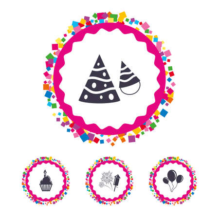 Web buttons with confetti pieces. Birthday party icons. Cake, balloon, hat and muffin signs. Fireworks with rocket symbol. Cupcake with candle. Bright stylish design. Vector