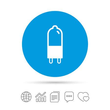 電球のアイコン。ランプ G9 ソケット記号です。Led やハロゲン光のサイン。ファイルのコピー、音声バブルとグラフ web アイコンをチャットします。