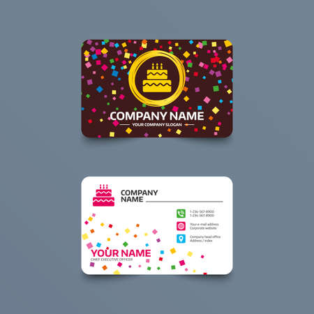 Business Card Template With Confetti Pieces Birthday Cake Sign