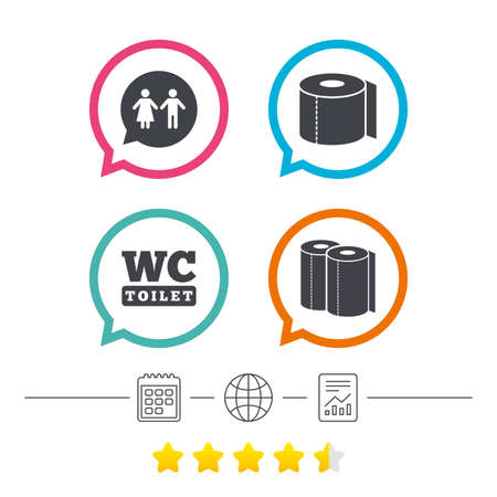 Toilet paper icons. Gents and ladies room signs. Paper towel or kitchen roll. Man and woman symbols. Calendar, internet globe and report linear icons. Star vote ranking. Vector