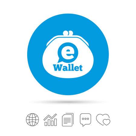 ewallet への記号のアイコン。電子財布のシンボル。ファイルのコピー、音声バブルとグラフ web アイコンをチャットします。ベクトル  イラスト・ベクター素材