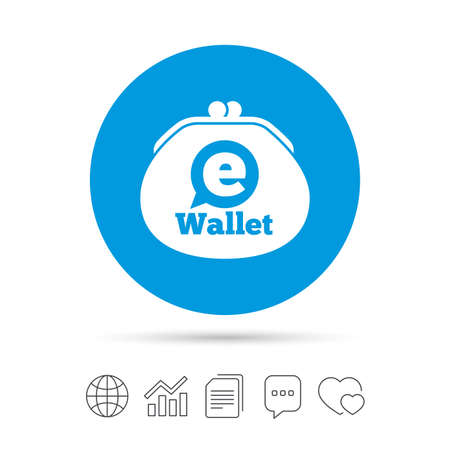 eWallet sign icon. Electronic wallet symbol. Copy files, chat speech bubble and chart web icons. Vector
