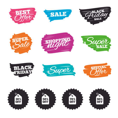 ninety: Ink brush sale banners and stripes. Sale price tag icons. Discount special offer symbols. 30%, 50%, 70% and 90% percent off signs. Special offer. Ink stroke. Vector